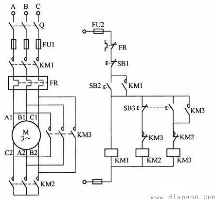 星三角启动接触器的电路图分析