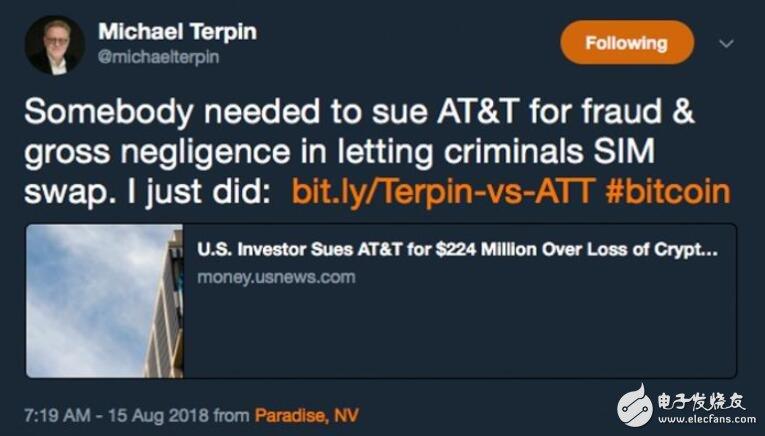 Michael Terpin起诉AT&T,手机遭到黑客攻击损失2400万美元数字资产