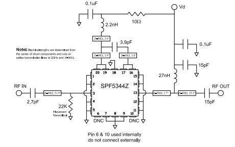 SPF5344Z高性能的2级PHEMT MMIC低噪声放大器的详细数据手册免费下载