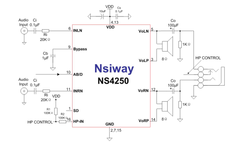 NS4250第二代超长续航2X3W智能音频功放的详细资料手册免费下载