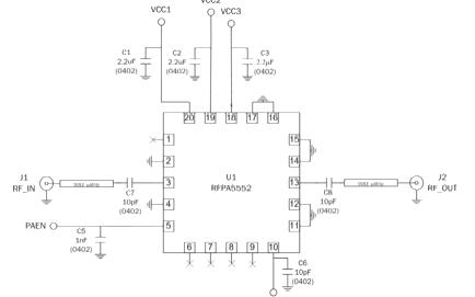RFPA5552 WiFi集成设计的三级功率放大器的详细数据手册免费下载