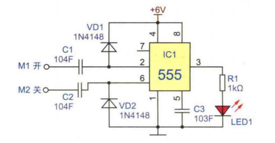仅 2mA 左右,不足使电灯 H 发光。需要开灯时,只有用手指摸一下电极片 M,因人体泄露电流经 R5,R6 注入 BG2 的基极,BG2 迅速导通。BG2 集电极为低电平,BG1 也随之导通,因此有触发电流经 BG1 注入 SCR 的控制极使 SCR 开通,电灯 H 就通电发光。在 BG2 导通瞬间,C1 通过 BG2 的 c-e 极间被并联在 DW 的两端,因此被迅速充上约 12V 左右的电压。电灯点亮后,人手离开 M,虽然 BG2 恢复截止状态但由于 C1 所存储的电荷通过 R1 向 BG1 发射结