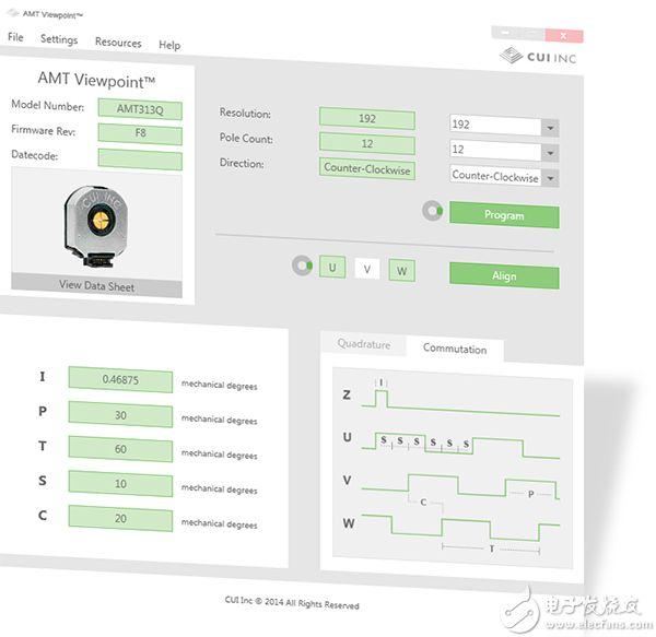 CUI 的 AMT Viewpoint GUI 能让用户设定多个编码器参数,并获取诊断数据。