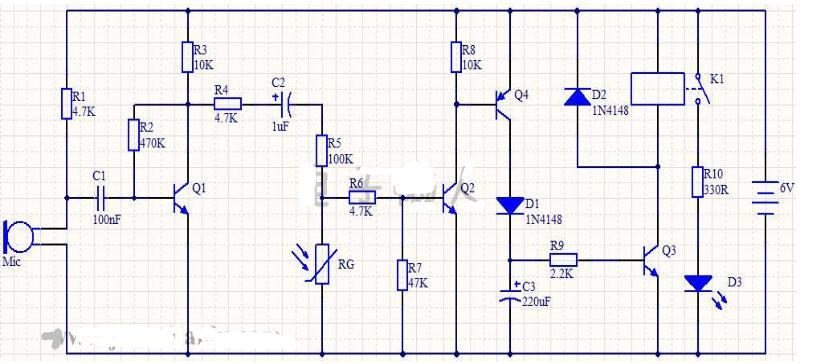 祁尔led延时声光控开关实绘电路见下图所示.