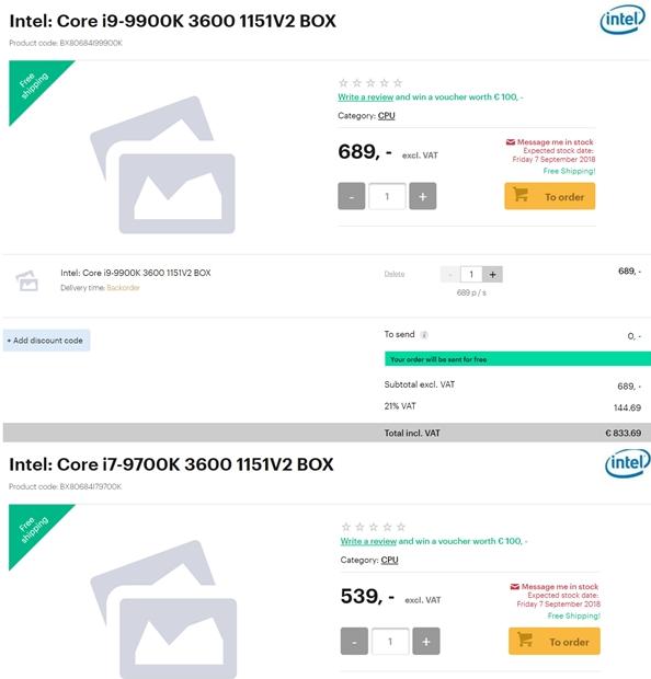 Intel 9代酷睿处理器欧洲价格曝光 价格还真不低