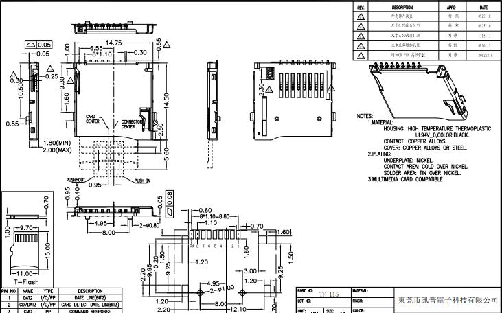9P外焊自弹式TF卡座详细原理结构图免费下载