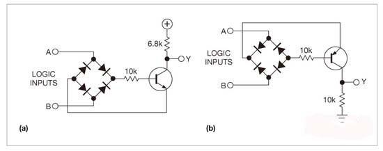 通过二极管桥和晶体管完成异或功能