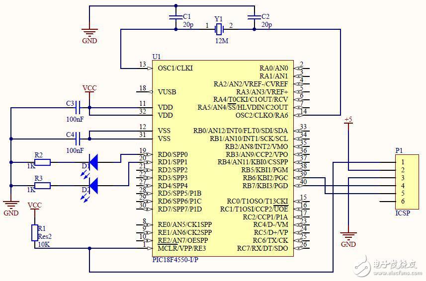 如何实现PIC18F4550的ICSP连接电路