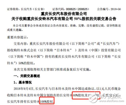 长安汽车1元收购50%股权 铃木彻底退出中国市场