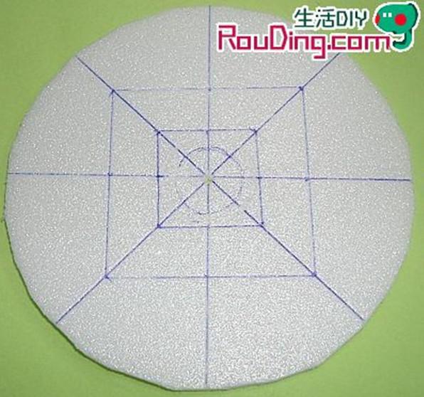 以直尺及笔画出相互垂直的两条直径,再以量角器,将圆均分八等分的扇形