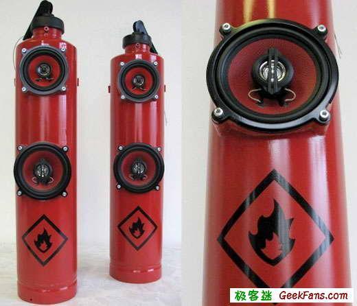 创意音箱diy教程 灭火器外形