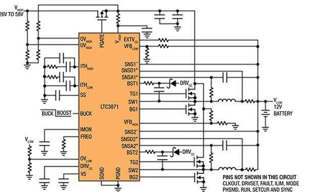双向100V/30V两相同步降压解决方案
