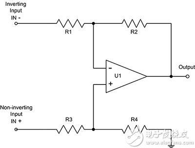 典型电流检测放大器的简化示意图