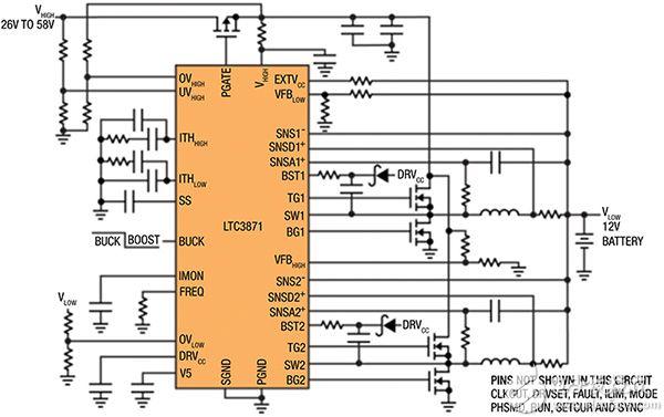 Linear Technology 的 LTC3871 的双向应用示意图