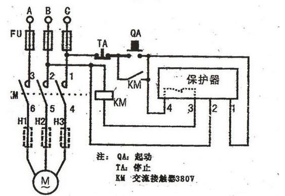 常亮,表示运行正常。   3.过载保护过载时,R4上的取样电位高于时基内部比较电位。随着过载量的加重或时间的增长,R4上的取样电位会相对增加。因而,多谐振荡电路频率也会随着增高。对应NE556的OUT2输出端脚电位,高低交替变化(唯一不足的是:这种电机综合保护器的电流取样只有一相),一旦脚电位变低,单稳态电路电容C6开始充电,按照变化的频率充电。当电动机过载电流倍数较大时,对应多谐振荡脉冲中,低电平所占时间相对较长,这时C6充电速度较快;相反,当过载电流倍数较小时,C6充电速度较慢。这使得电动机的过载保