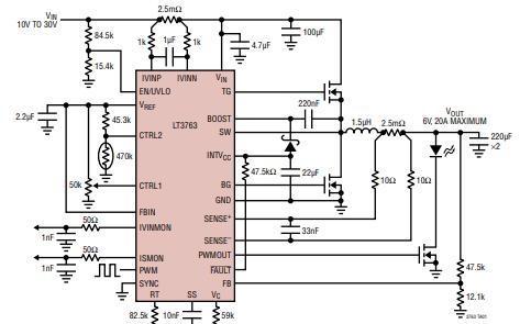 LT3763大电流降压LED驱动控制器的详细数据资料和应用免费下载