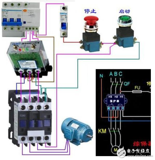 时控开关与220伏接触器接线图