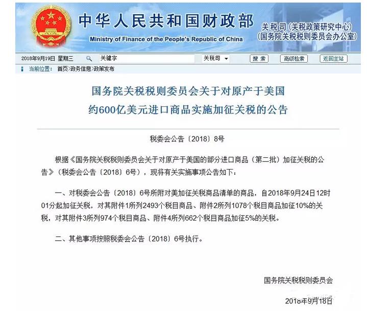 反击!中国600亿美元加征商品下周一同步开征