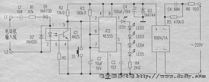 夜间来电话自动LED照明灯电路