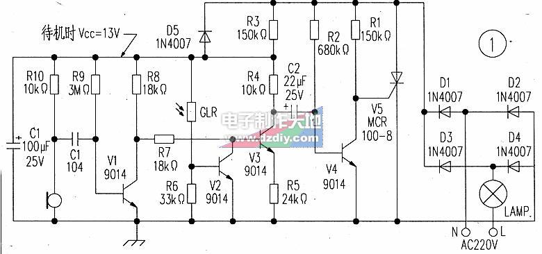 声控灯座电路原理图