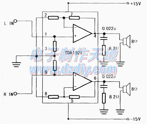 集成功放TDAl521设计和制作的功率放大器