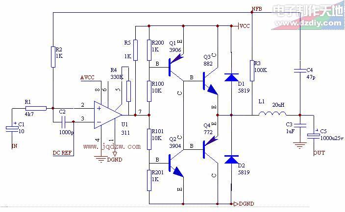 缓冲驱动级构成一个大功率的滞回比较器,然后加上rc积分负反馈回路,.