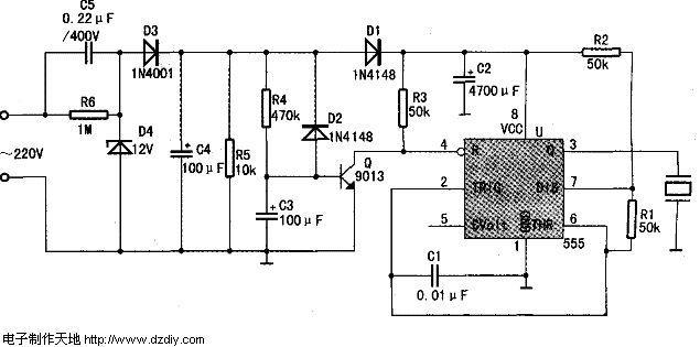 NE555制作的停电或来电报警电路