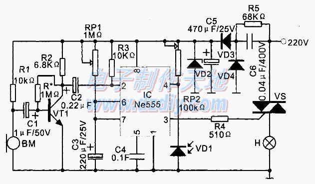 NE555声光控制智能开关电路