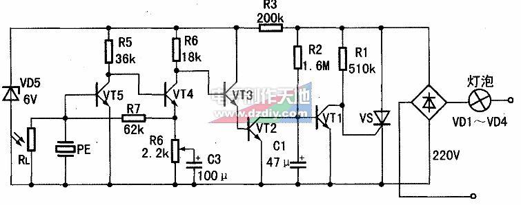光控节能灯电路原理图