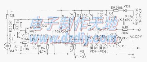 采用MAX666制作的新型节能声控灯