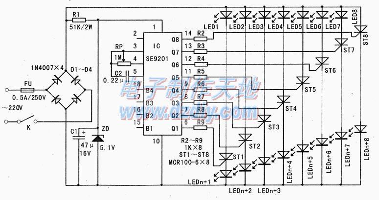 SE9201彩灯控制电路图