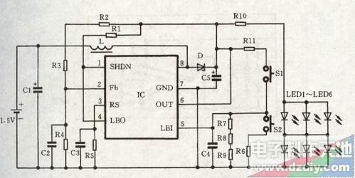 一种微型节能手电的电路
