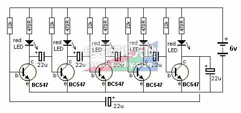 5支发光二极管制成的led流水灯电路