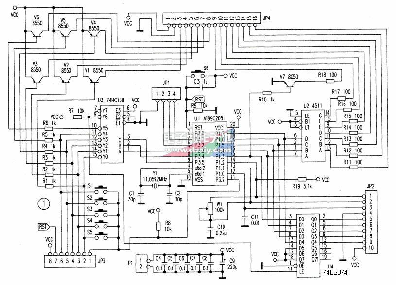 基于AT89C2051制作八路定时电路
