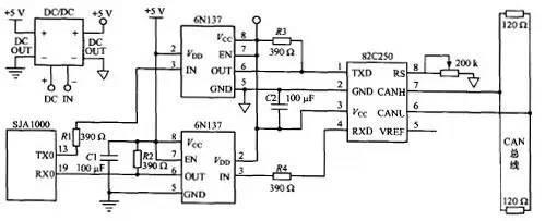 CAN总线接口电路原理图和注意事项