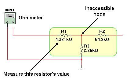 无法接触中心节点的嵌入式电阻的测量方案