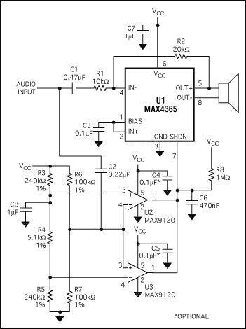 可自动关断的扬声器放大器电路