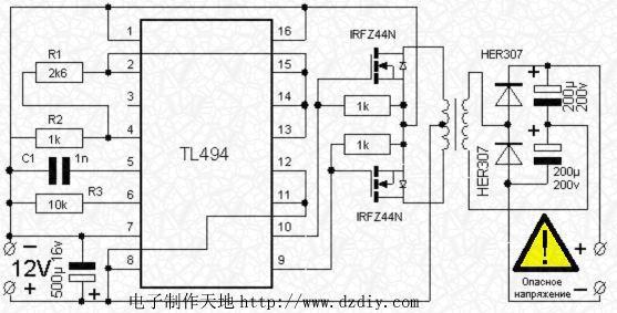 TL494搭建的DC-DC直流变换电路解析