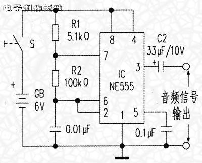 基于NE555制作的音频信号发生器电路图