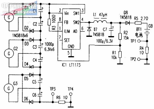 LT1173风力发电机充电控制器电路图