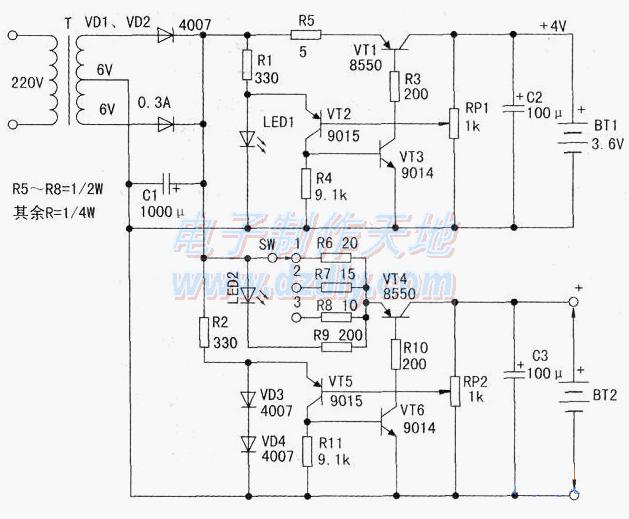 简略易制的多功能充电电路,Battery charging circuit