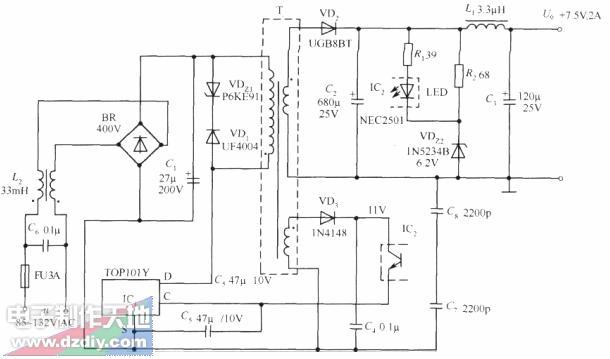 开关直流稳压电源电路(7.5v 2A)