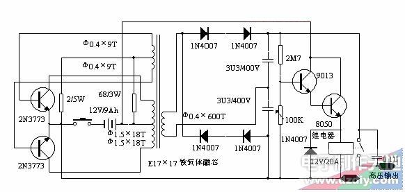 简单脉冲式电子捕鱼器,High Voltage Inverter