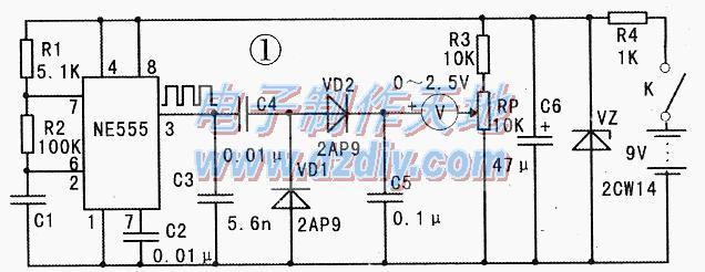 NE555构成的粮食湿度检测仪电路