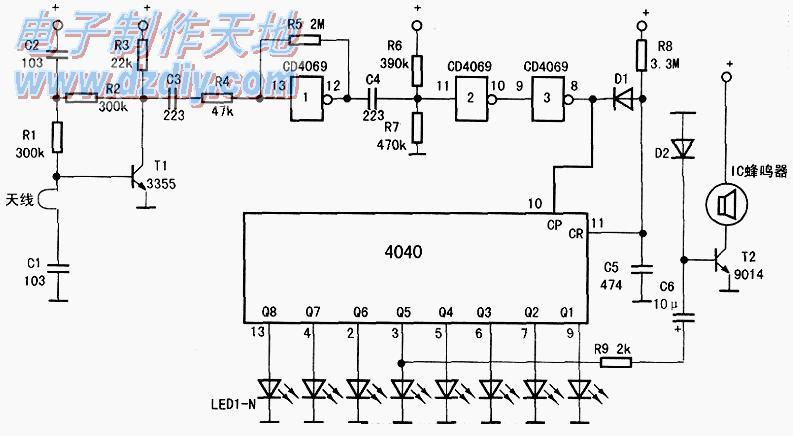 CD4040手机电磁辐射演示实验电路