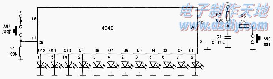 怎样用CD4040演示二进制加法电路