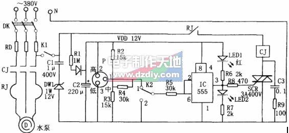 NE555構成的無塔增壓供水裝置液位控制電路的原理