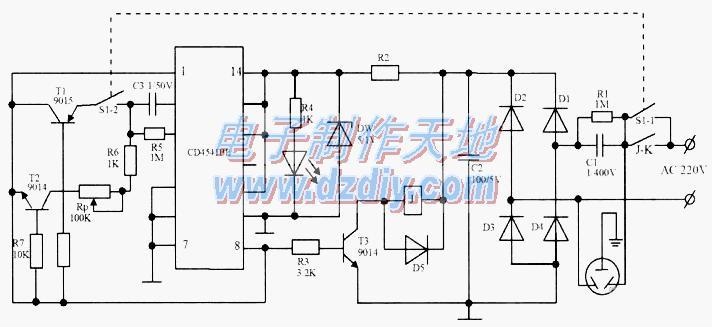 怎样用CD4541BE制作延时断电开关电路