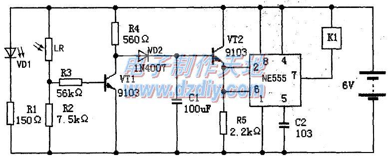 NE555光控开关的工作原理