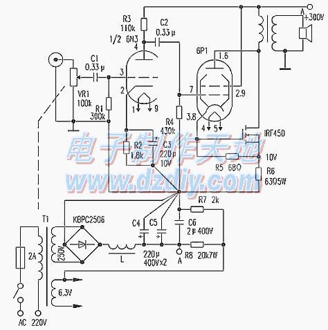 18W胆场输出甲类功放电路的制作方法